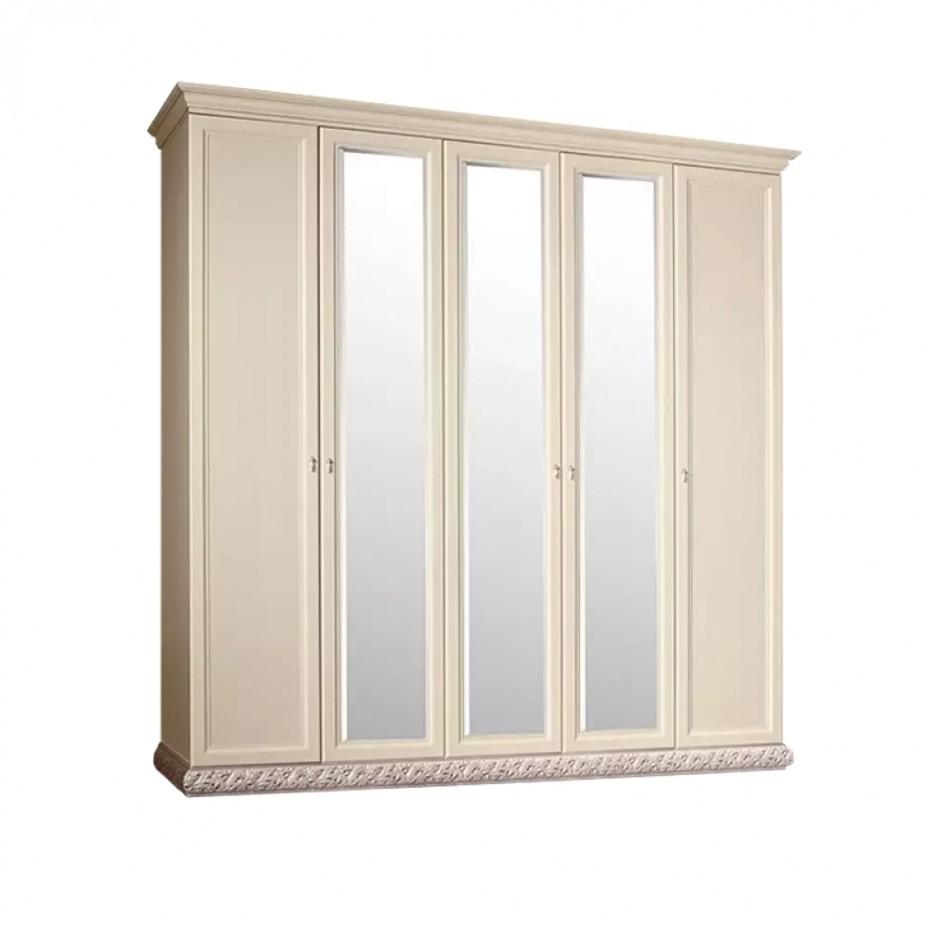 Шкаф 5-дверный для платья и белья (с зеркалами) Тиффани (Штрих-золото)