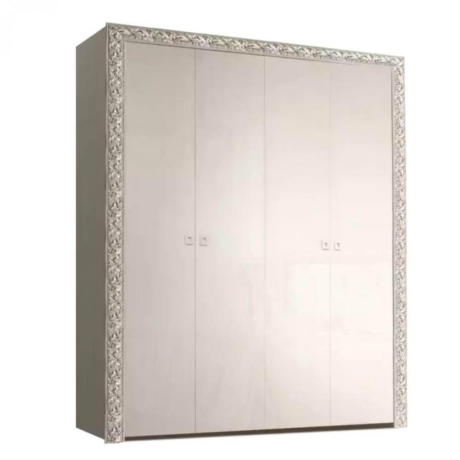 Шкаф 4-дверный для платья и белья (без зеркал) Тиффани Премиум (Слоновая кость/серебро)