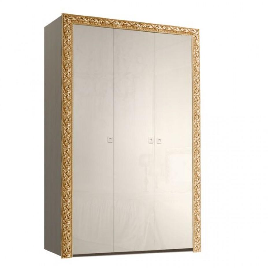 Шкаф 3-дверный для платья и белья (без зеркал) Тиффани Премиум (Слоновая кость/золото)
