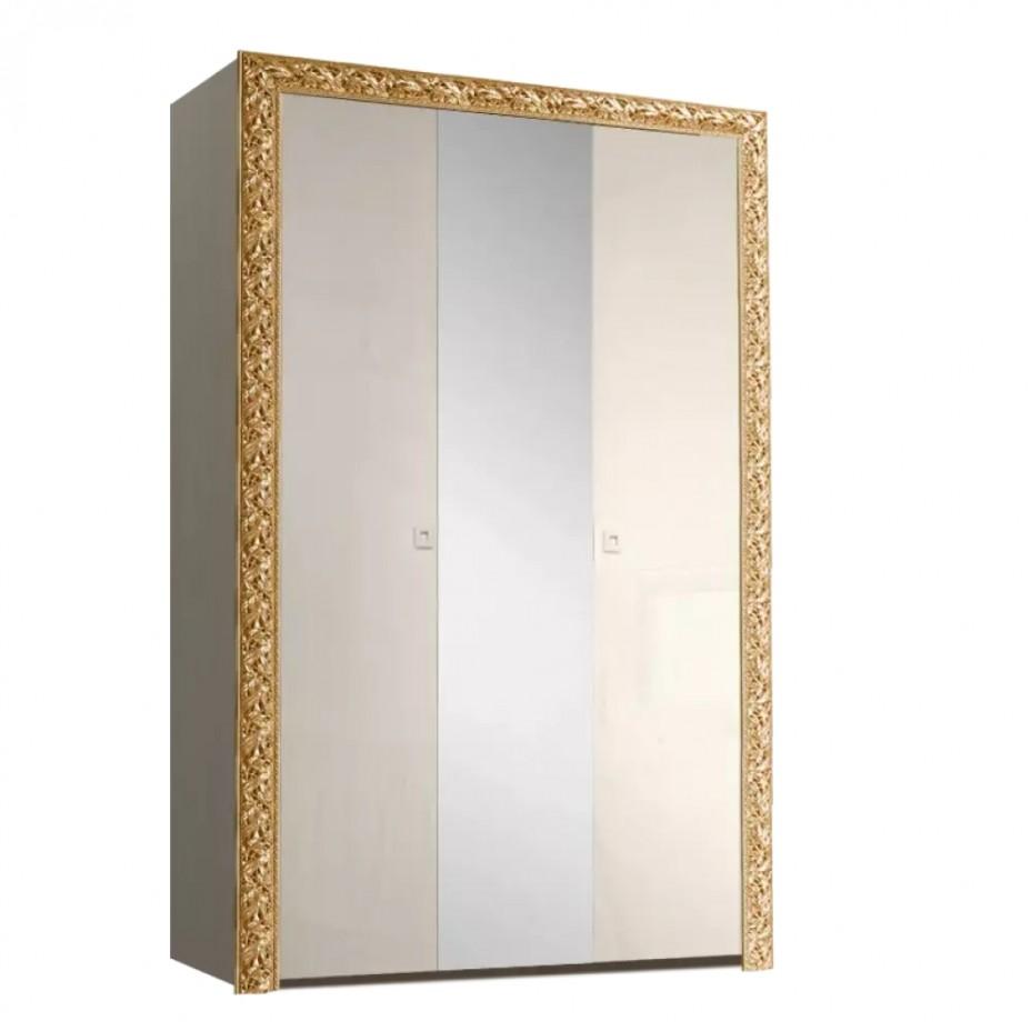 Шкаф 3-дверный для платья и белья (с зеркалом) Тиффани Премиум (Слоновая кость/золото)