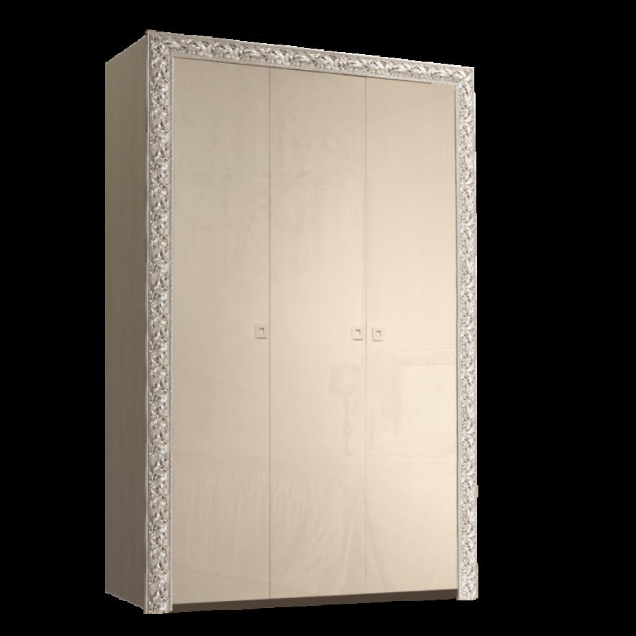 Шкаф 3-дверный для платья и белья (без зеркал) Тиффани Премиум (Капучино/серебро)