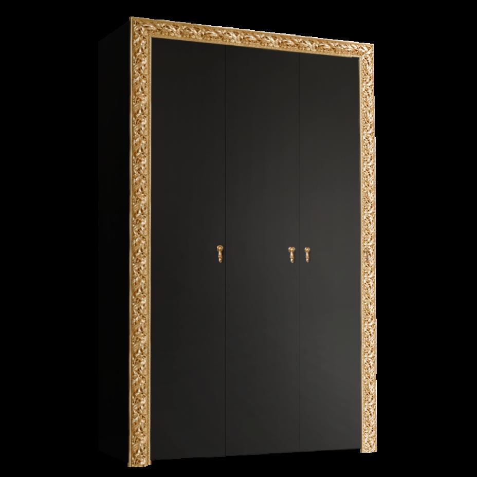 Шкаф 3-дверный для платья и белья (без зеркал) Тиффани Премиум (Черный/золото)