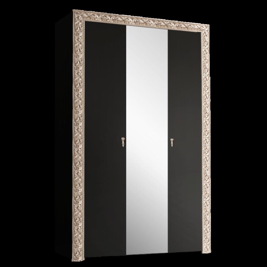 Шкаф 3-дверный для платья и белья (с зеркалом) Тиффани Премиум (Черный/серебро)