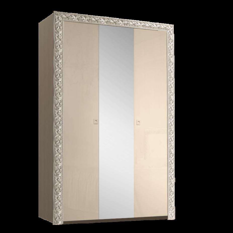 Шкаф 3-дверный для платья и белья (с зеркалом) Тиффани Премиум (Капучино/серебро)