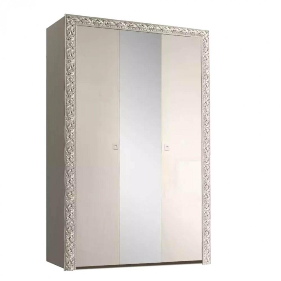 Шкаф 3-дверный для платья и белья (с зеркалом) Тиффани Премиум (Слоновая кость/серебро)