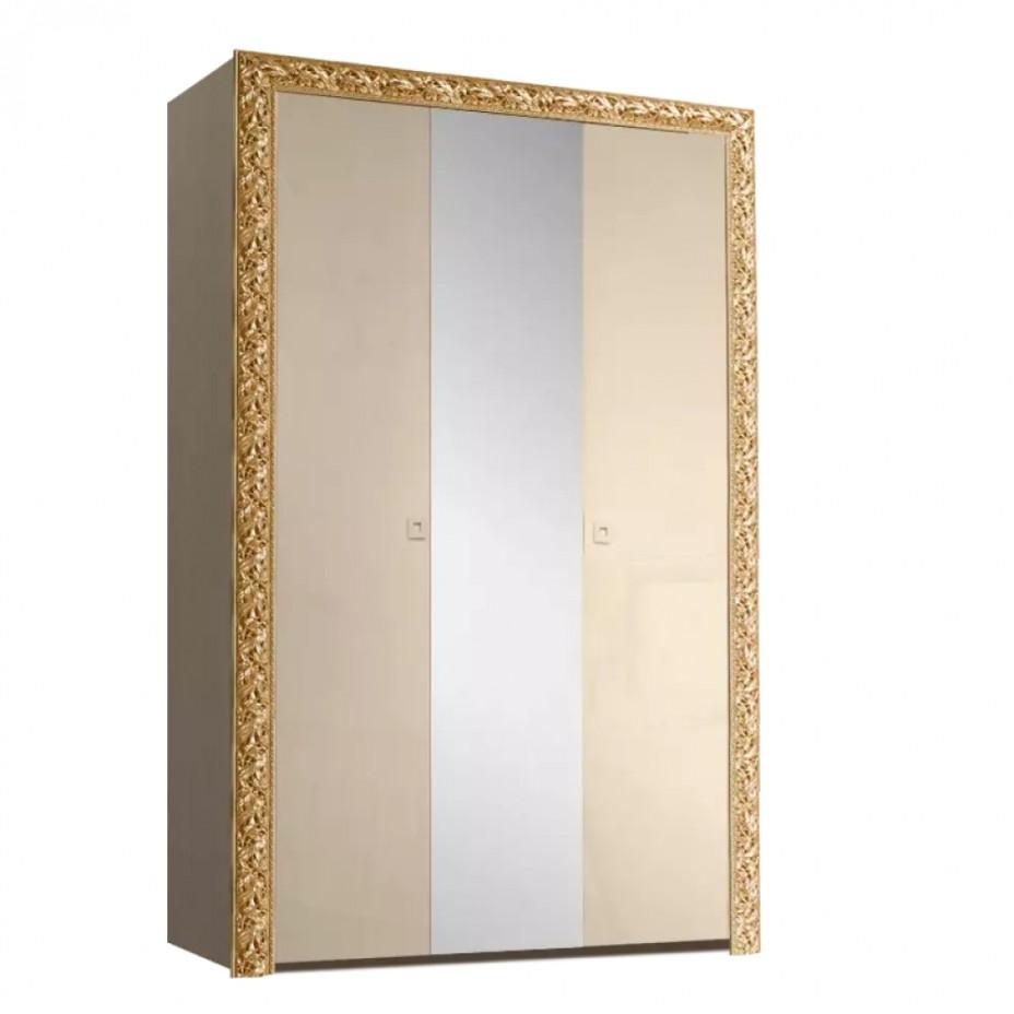 Шкаф 3-дверный для платья и белья (с зеркалом) Тиффани Премиум (Капучино/золото)