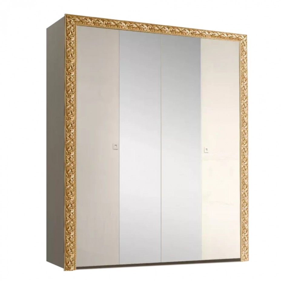 Шкаф 4-дверный для платья и белья (с зеркалами) Тиффани Премиум (Слоновая кость/золото)