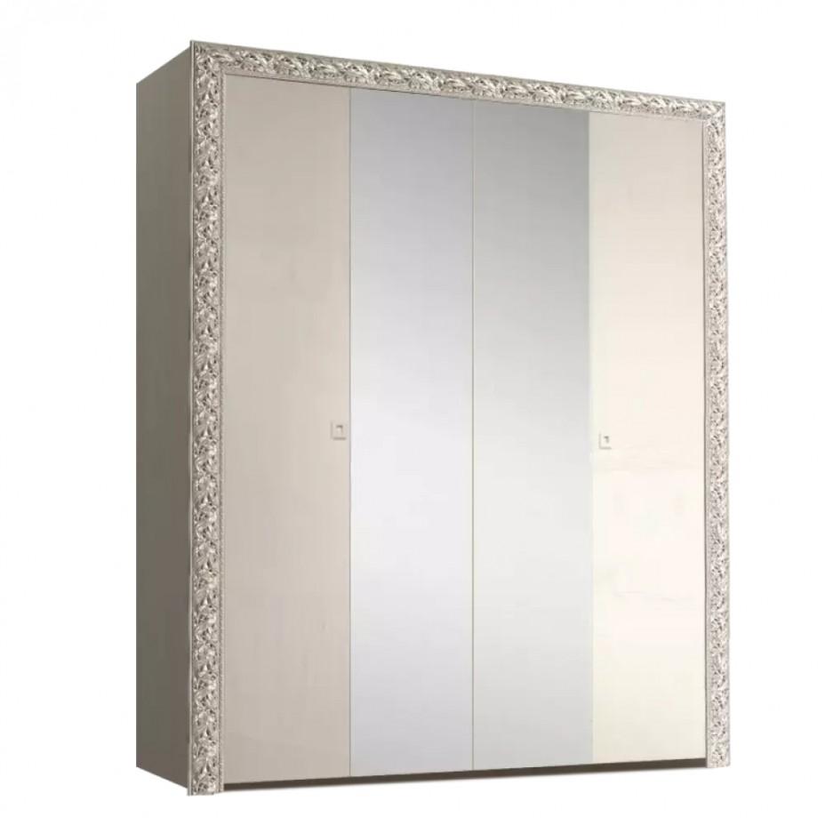 Шкаф 4-дверный для платья и белья (с зеркалами) Тиффани Премиум (Слоновая кость/серебро)