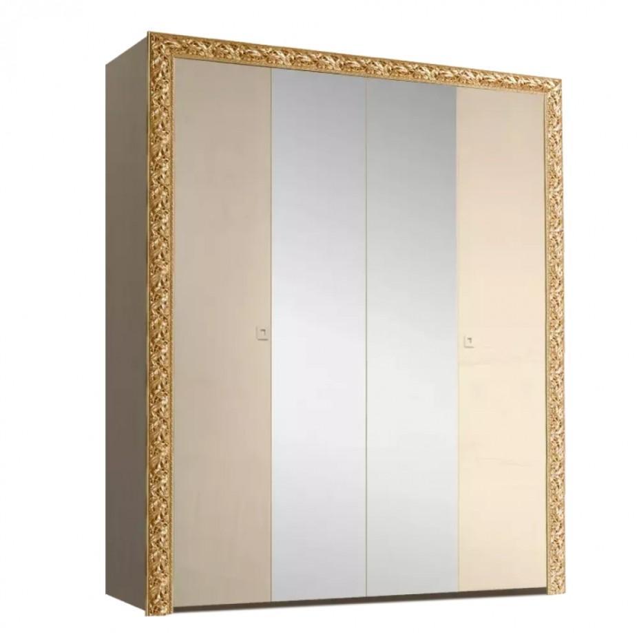 Шкаф 4-дверный для платья и белья (с зеркалами) Тиффани Премиум (Капучино/золото)