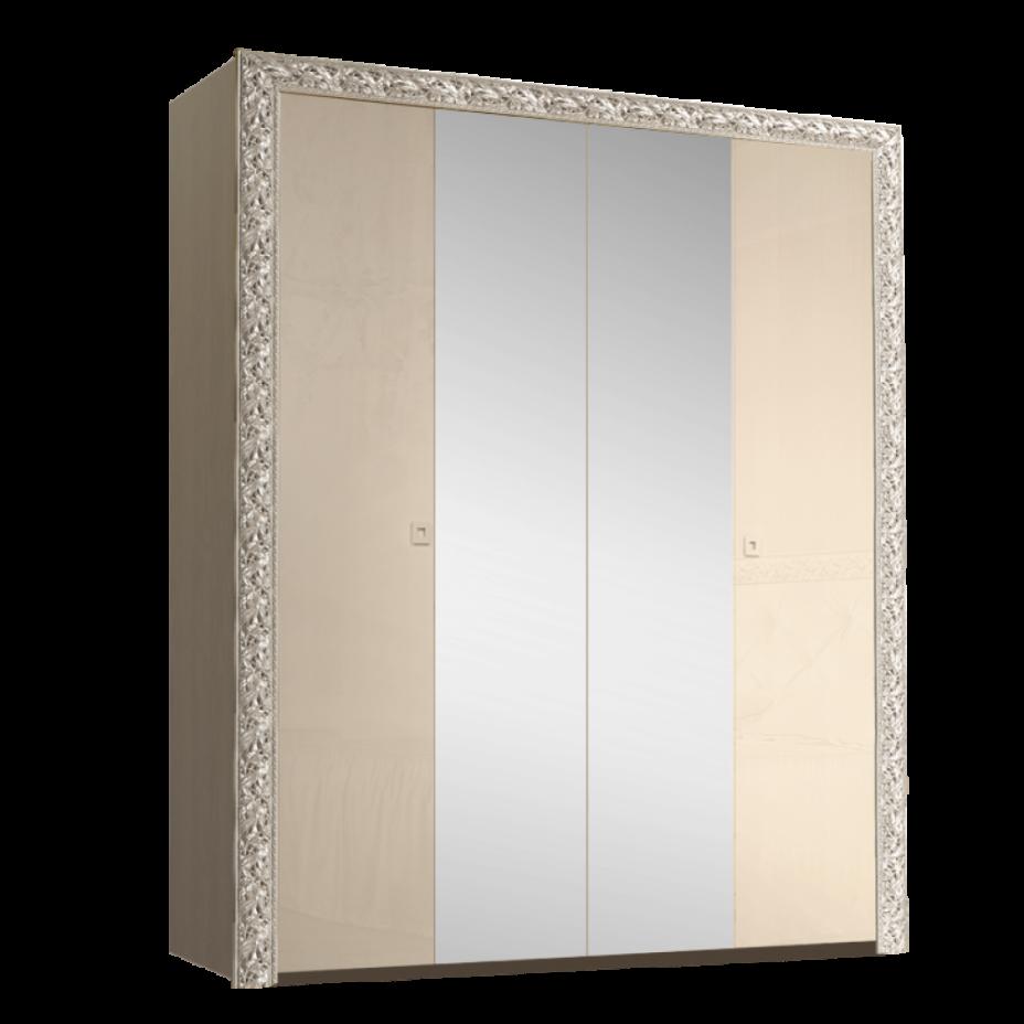 Шкаф 4-дверный для платья и белья (с зеркалами) Тиффани Премиум (Капучино/серебро)