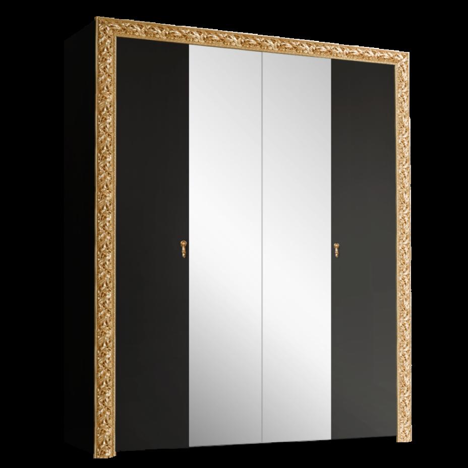 Шкаф 4-дверный для платья и белья (с зеркалами) Тиффани Премиум (Черный/золото)