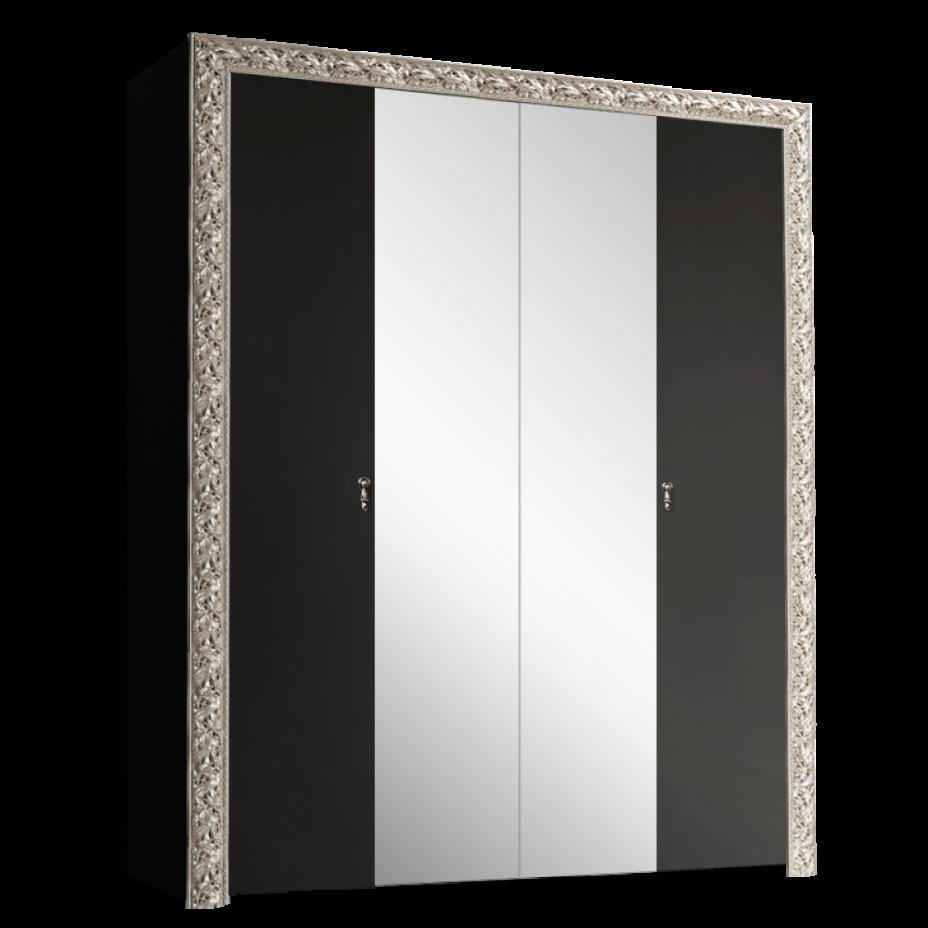 Шкаф 4-дверный для платья и белья (с зеркалами) Тиффани Премиум (Черный/серебро)