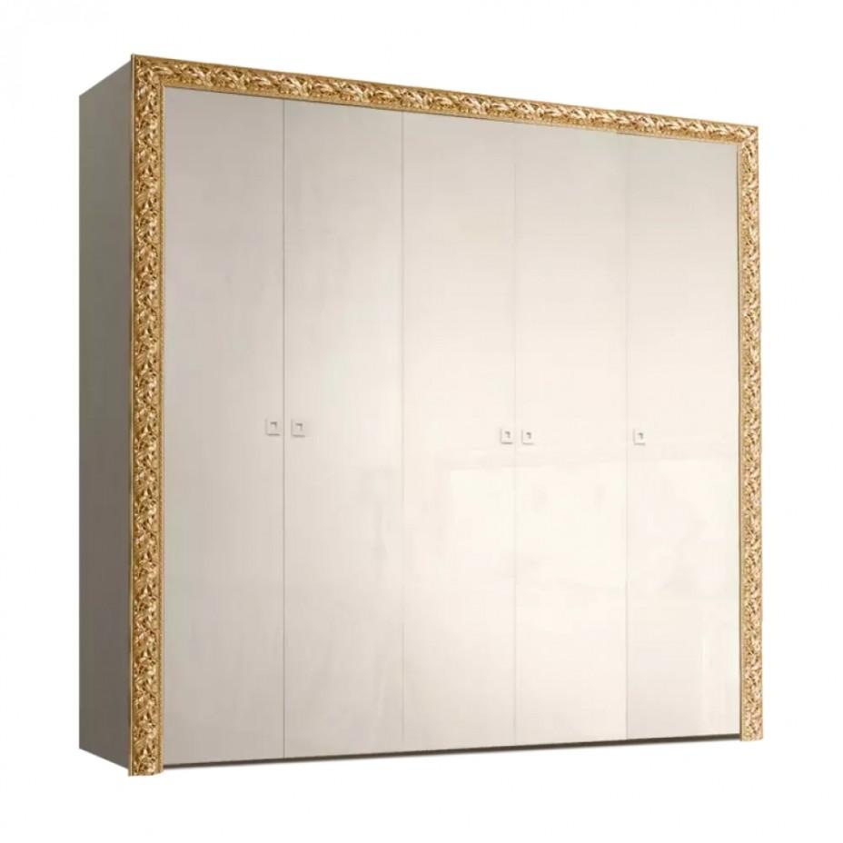 Шкаф 5-дверный для платья и белья (без зеркал) Тиффани Премиум (Слоновая кость/золото)
