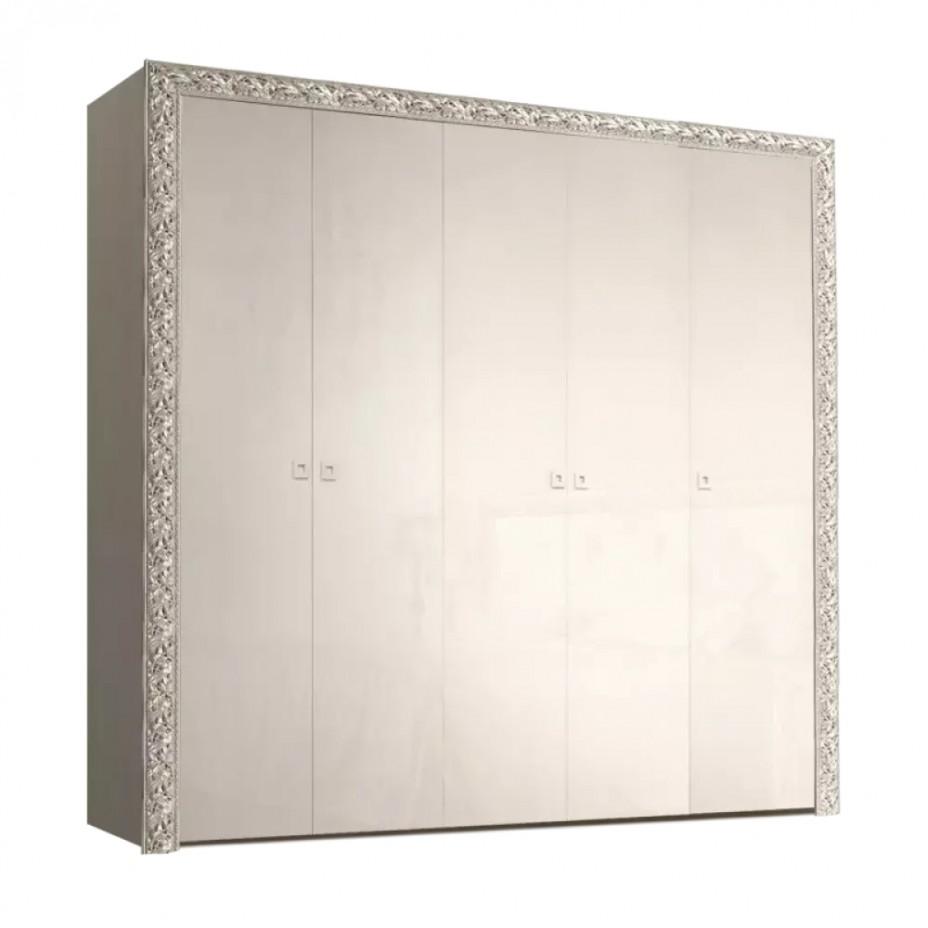 Шкаф 5-дверный для платья и белья (без зеркал) Тиффани Премиум (Слоновая кость/серебро)