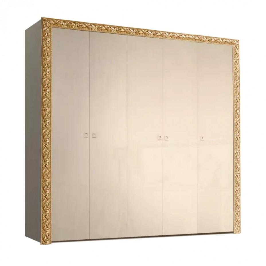 Шкаф 5-дверный для платья и белья (без зеркал) Тиффани Премиум (Капучино/золото)