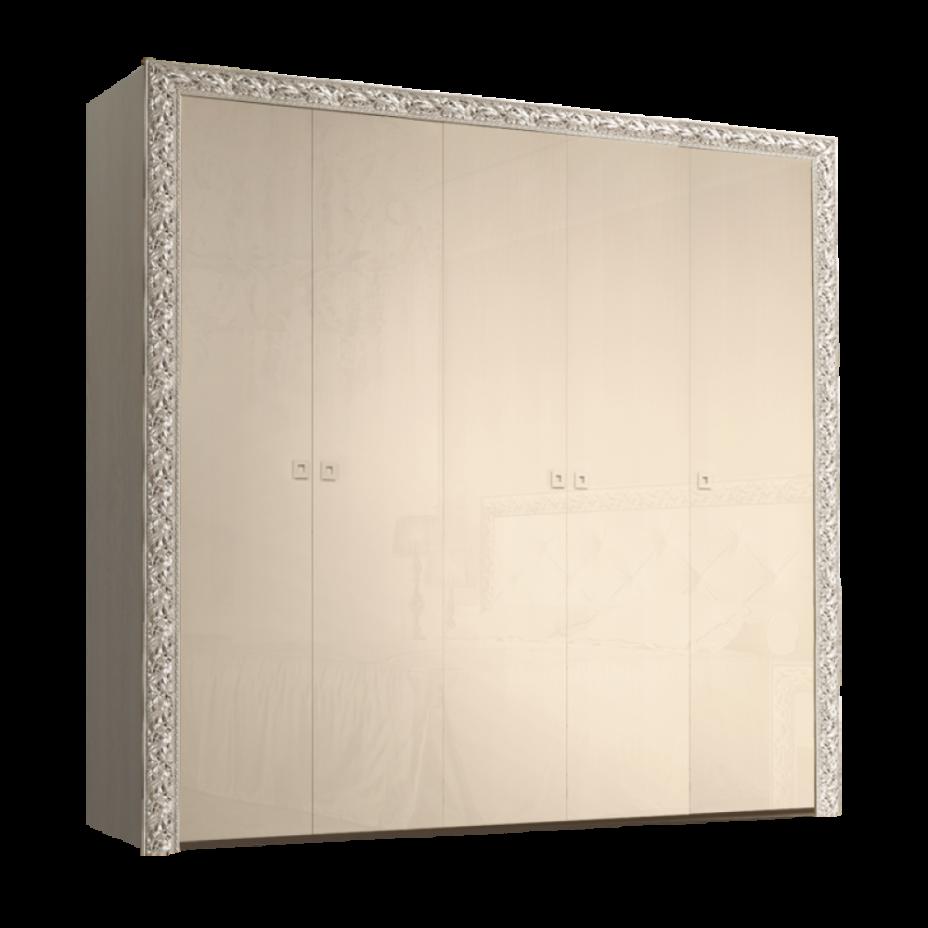 Шкаф 5-дверный для платья и белья (без зеркал) Тиффани Премиум (Капучино/серебро)