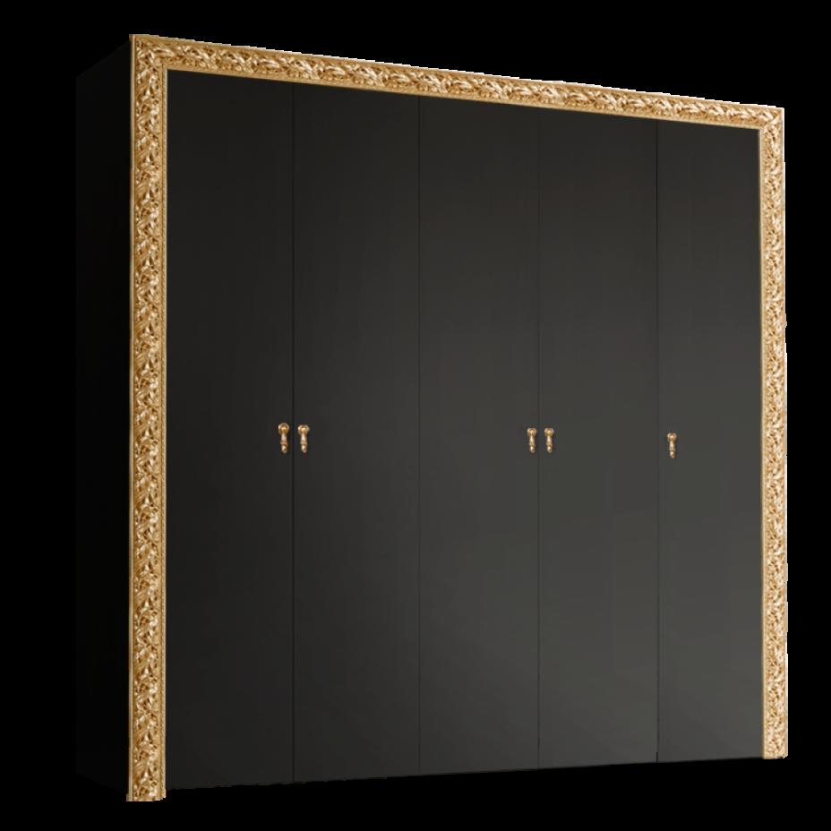 Шкаф 5-дверный для платья и белья (без зеркал) Тиффани Премиум (Черный/золото)