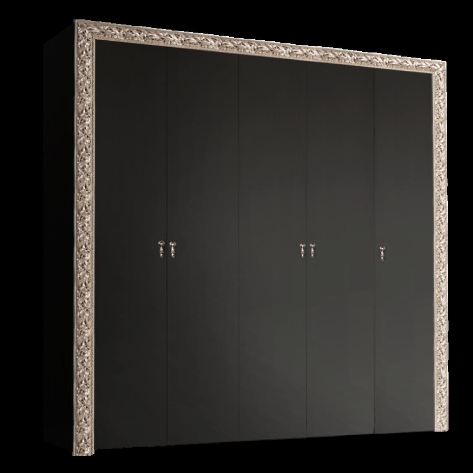 Шкаф 5-дверный для платья и белья (без зеркал) Тиффани Премиум (Черный/серебро)