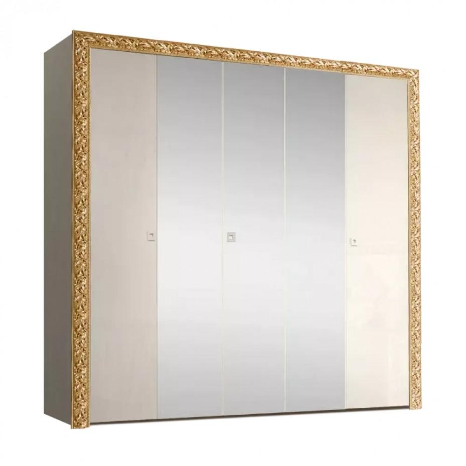 Шкаф 5-дверный для платья и белья (с зеркалами) Тиффани Премиум (Слоновая кость/золото)