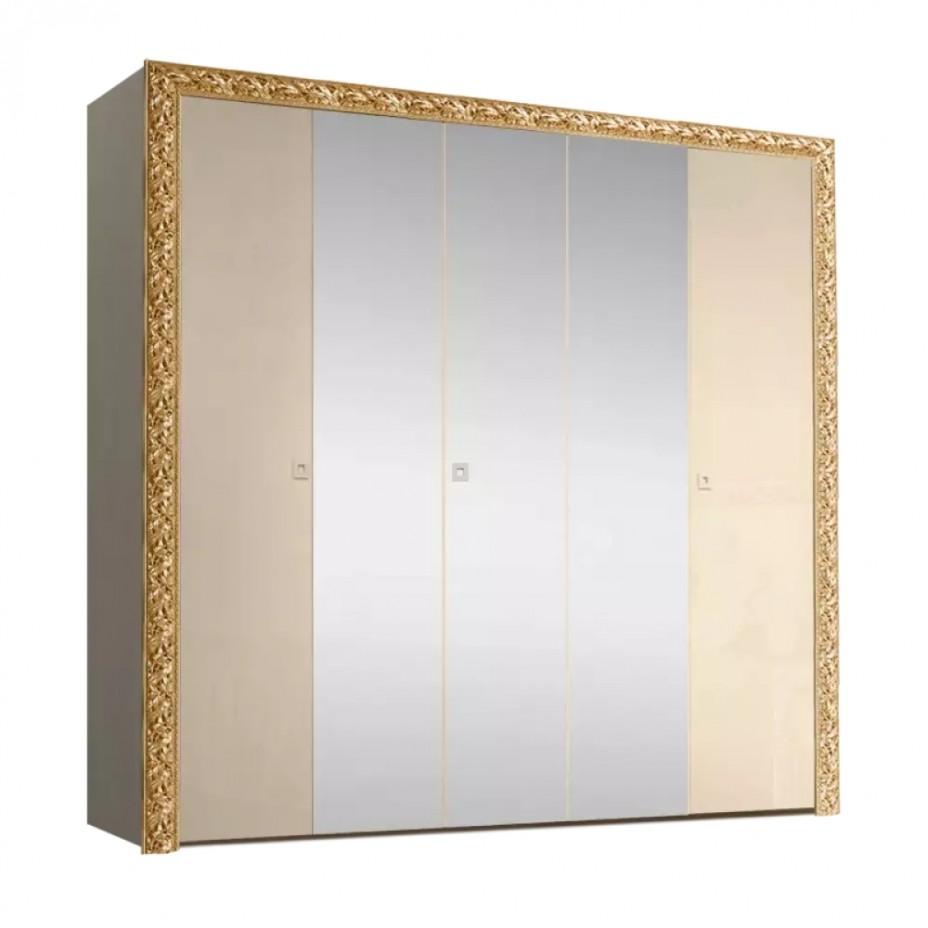 Шкаф 5-дверный для платья и белья (с зеркалами) Тиффани Премиум (Капучино/золото)