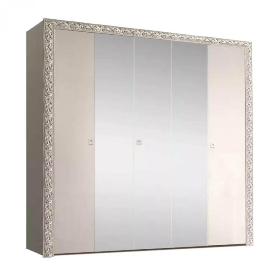 Шкаф 5-дверный для платья и белья (с зеркалами) Тиффани Премиум (Слоновая кость/серебро)