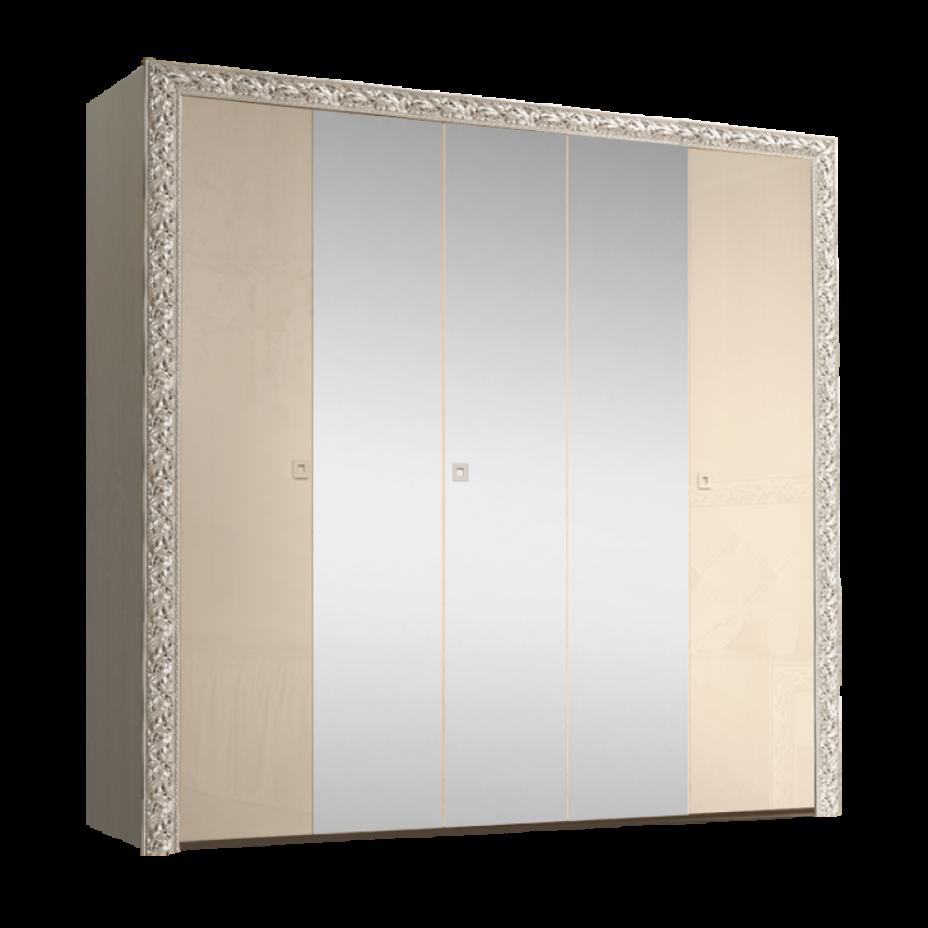 Шкаф 5-дверный для платья и белья (с зеркалами) Тиффани Премиум (Капучино/серебро)