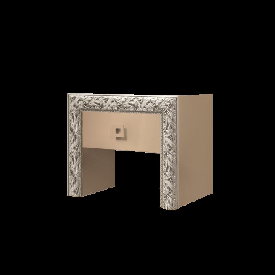 Тумба прикроватная Тиффани Премиум (Капучино/золото)
