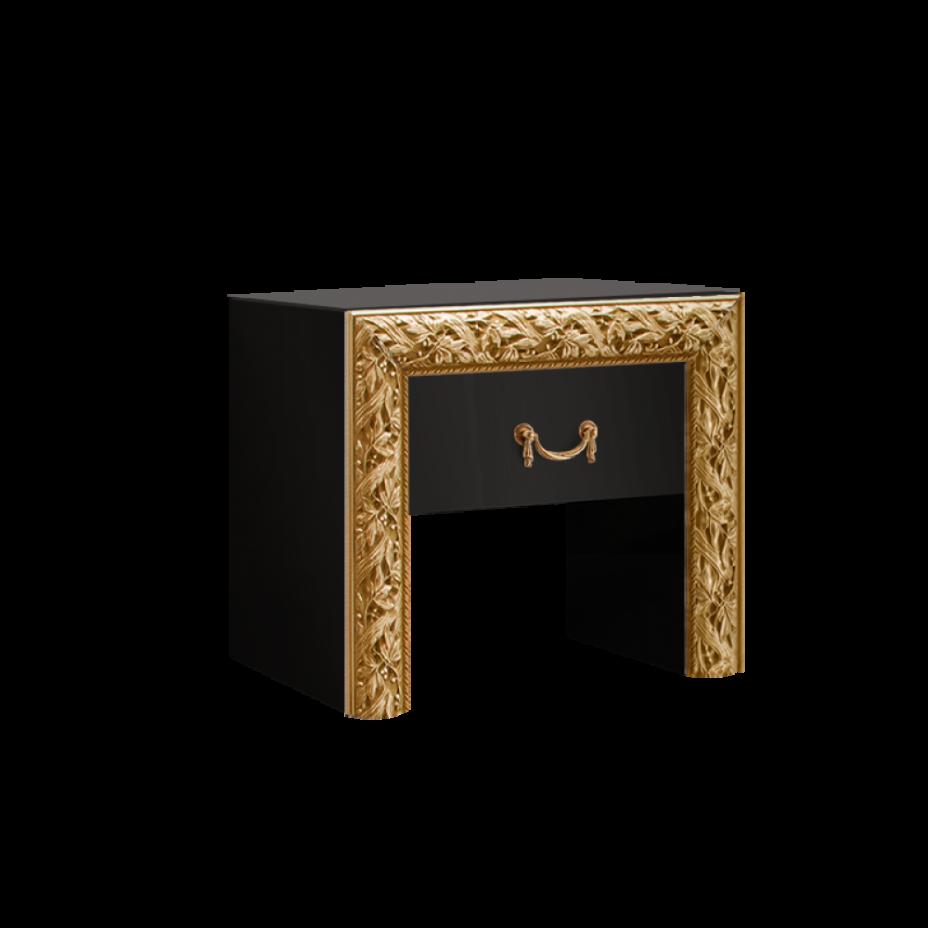 Тумба прикроватная Тиффани Премиум (Черный/золото)
