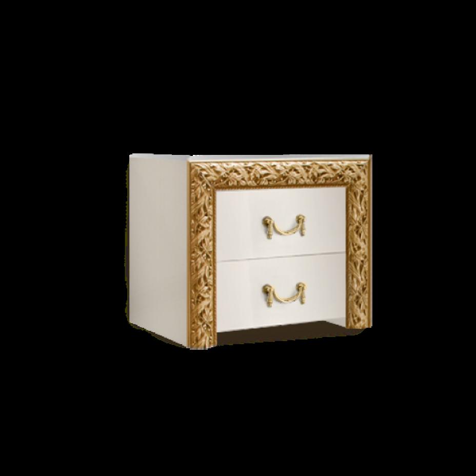 Тумба прикроватная (два ящика) Тиффани Премиум (Слоновая кость/золото)