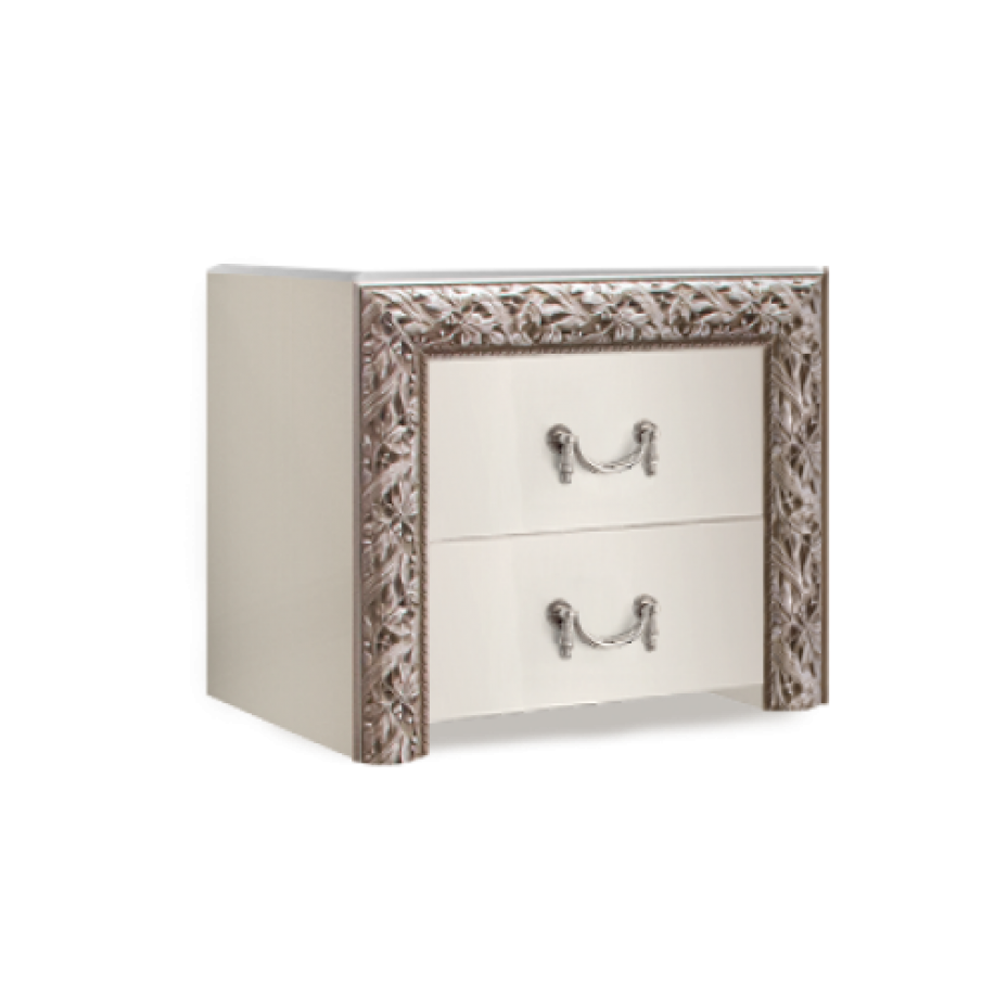 Тумба прикроватная (два ящика) Тиффани Премиум (Слоновая кость/серебро)