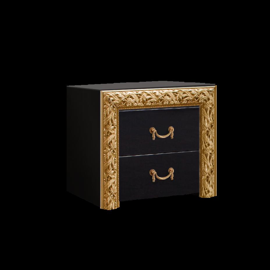 Тумба прикроватная (два ящика) Тиффани Премиум (Черный/золото)