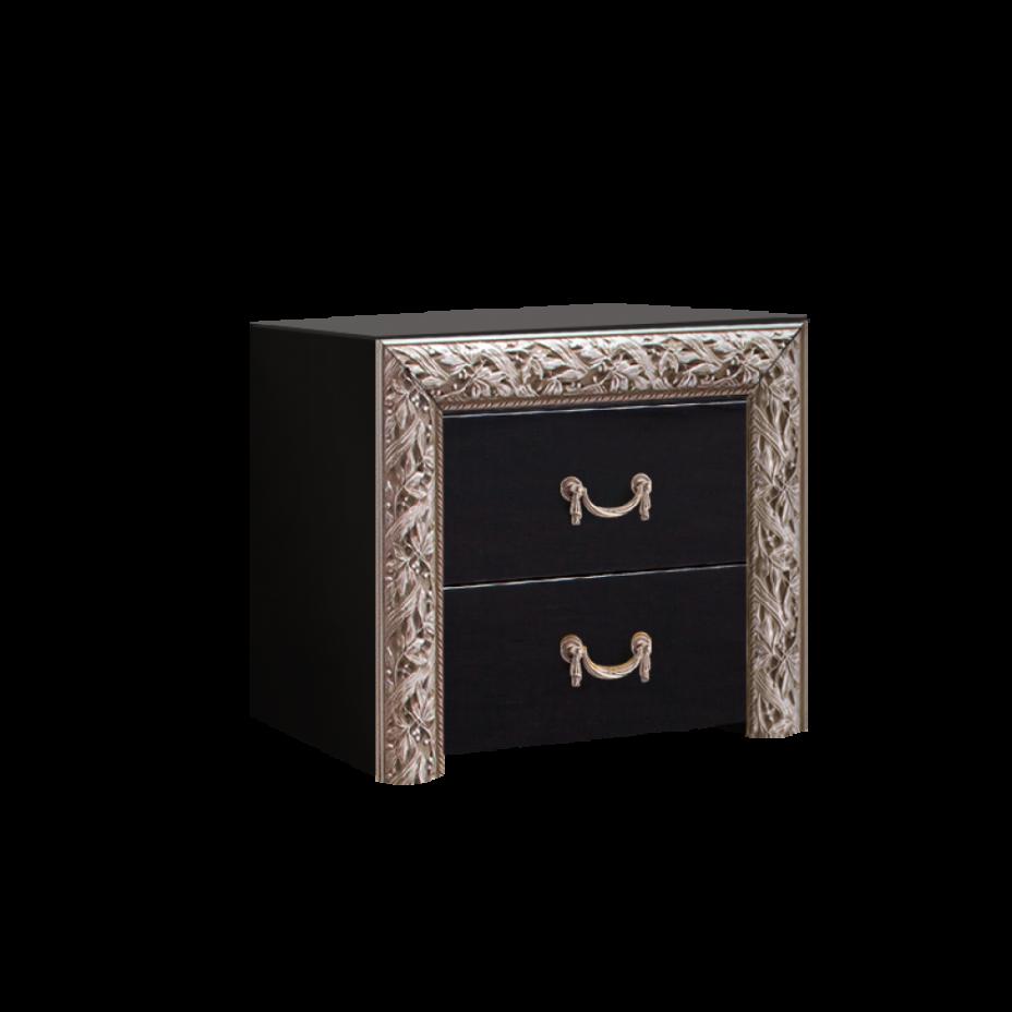 Тумба прикроватная (два ящика) Тиффани Премиум (Черный/серебро)