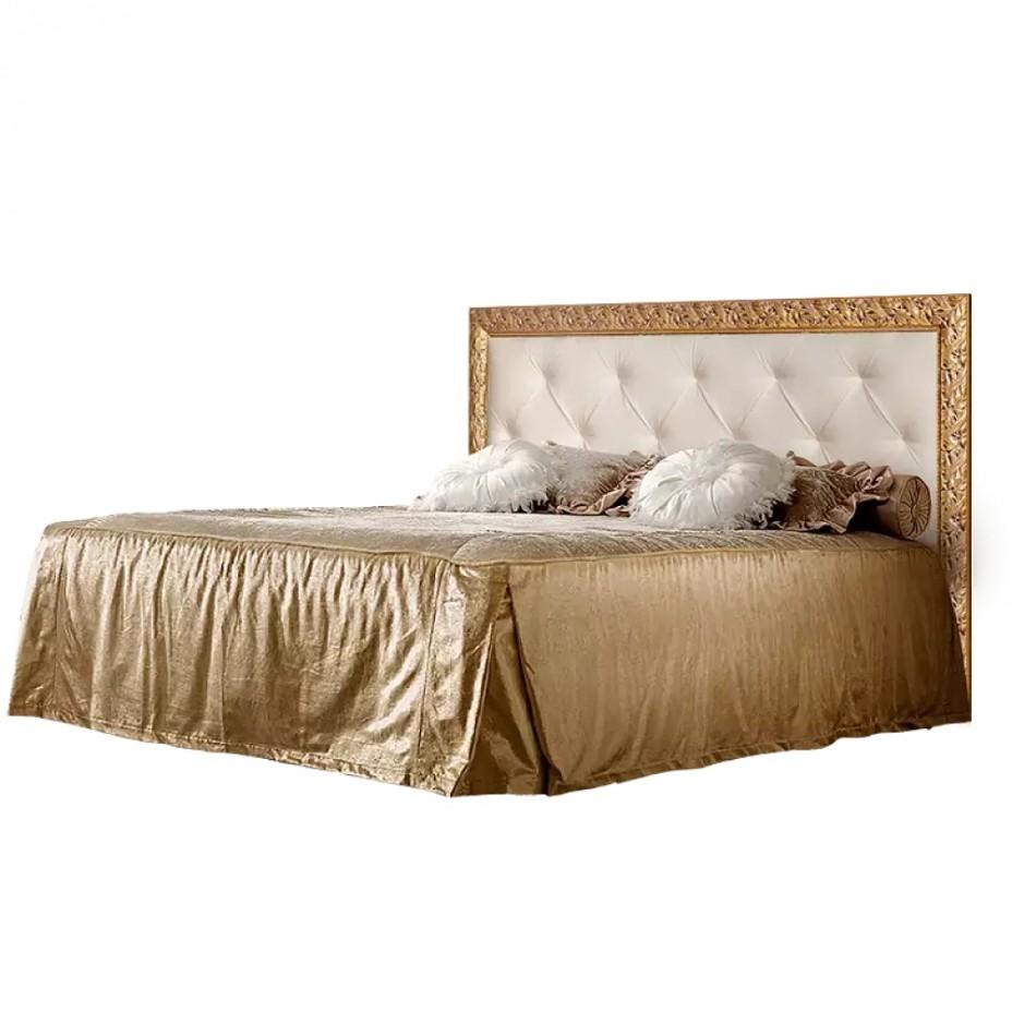 Кровать 2-х спальная (1,6 м) с мягким элементом со стразами с подъемным механизмом Тиффани Премиум( Слоновая кость/золото)