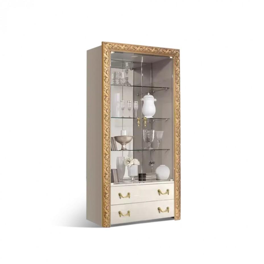 Витрина 2-створчатая для посуды (с выдвижными ящиками) Тиффани Премиум (Слоновая кость/золото)