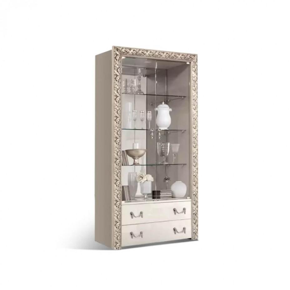 Витрина 2-створчатая для посуды (с выдвижными ящиками) Тиффани Премиум (Слоновая кость/серебро)
