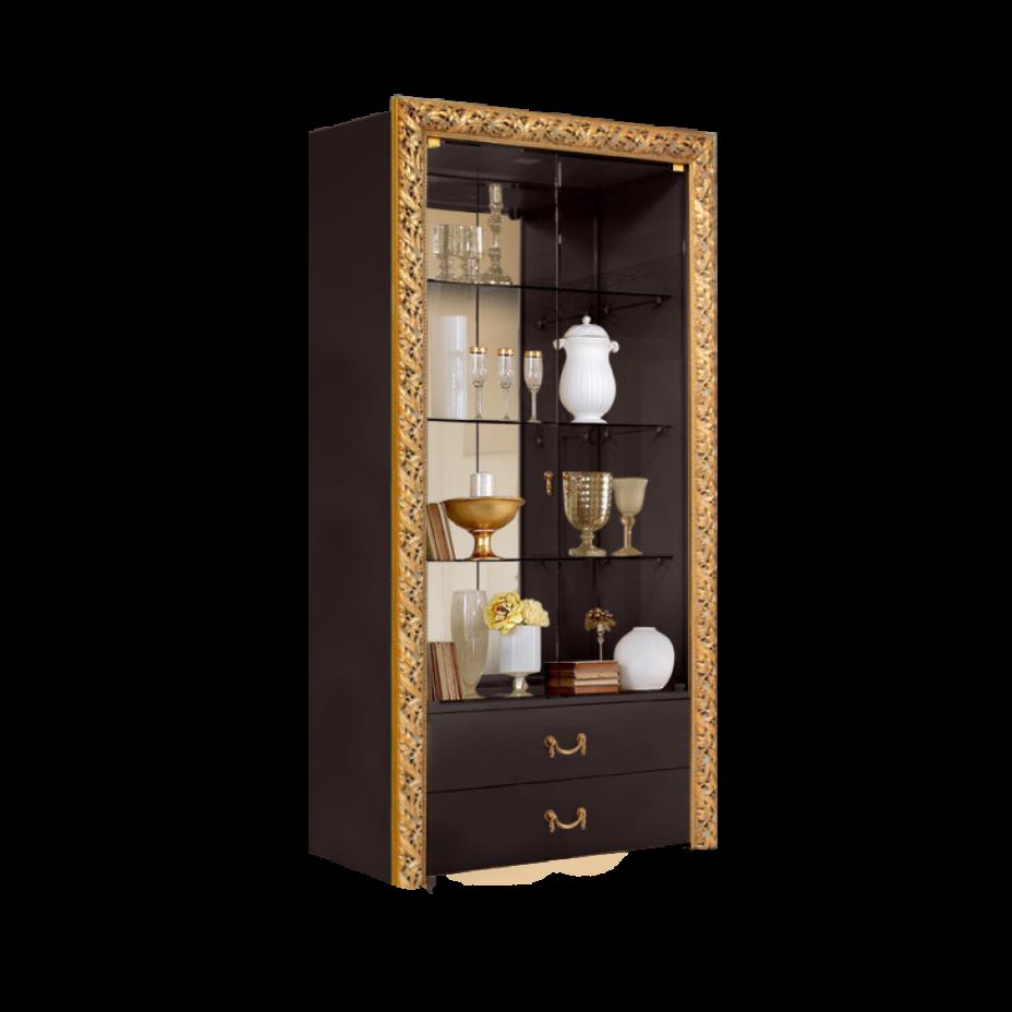 Витрина 2-створчатая для посуды (с выдвижными ящиками) Тиффани Премиум (Черный/золото)