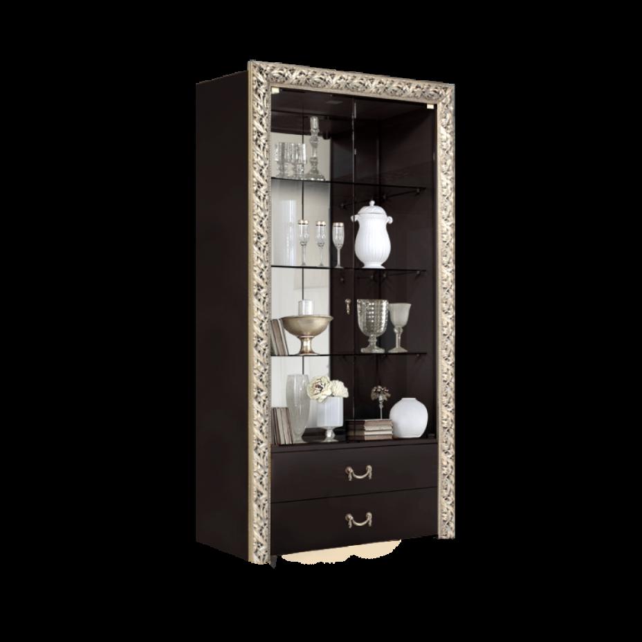 Витрина 2-створчатая для посуды (с выдвижными ящиками) Тиффани Премиум (Черный/серебро)