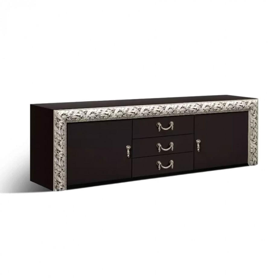 Тумба телевизионная (1,6м) (с тремя ящиками и дверьми) Тиффани Премиум (Черный/серебро)