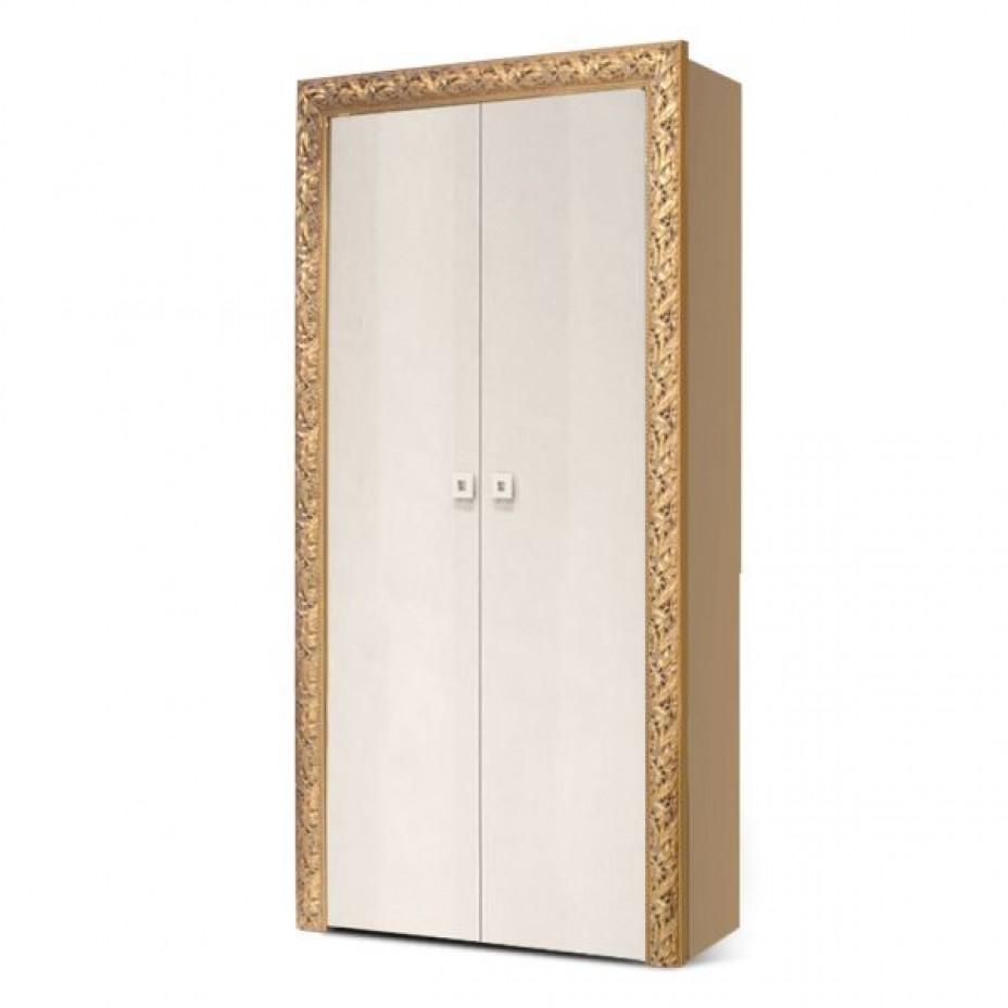 Пенал 2-дверный Тиффани Премиум (Слоновая кость/золото)