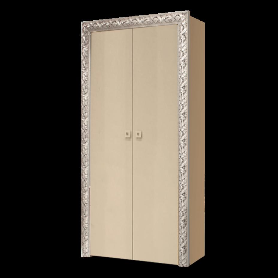 Пенал 2-дверный Тиффани Премиум (Капучино/серебро)