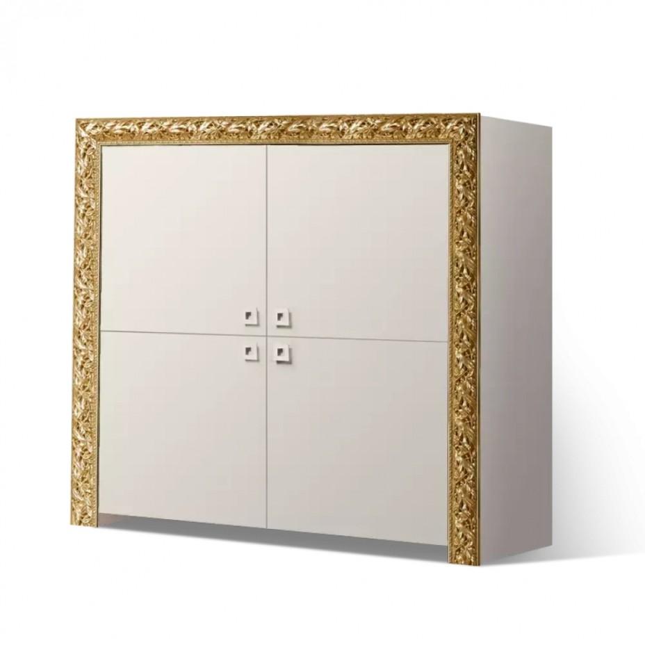 Пенал 4-дверный Тиффани Премиум (Слоновая кость/золото)