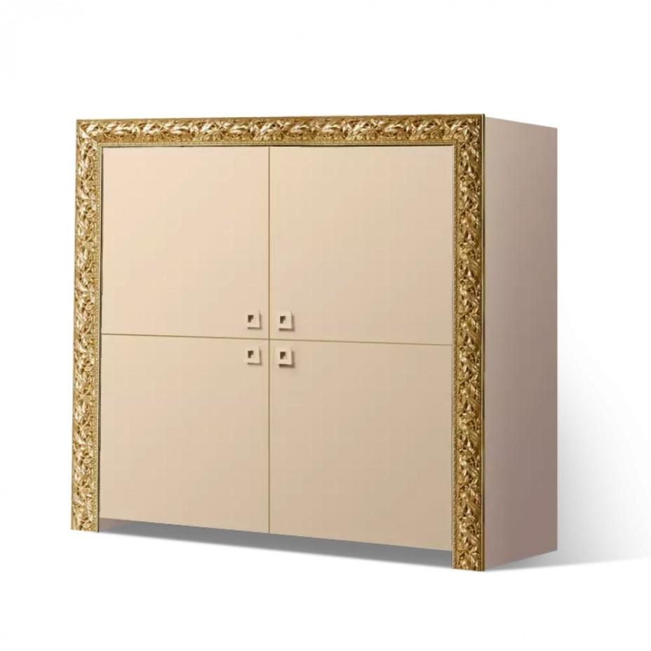 Пенал 4-дверный Тиффани Премиум (Капучино/золото)