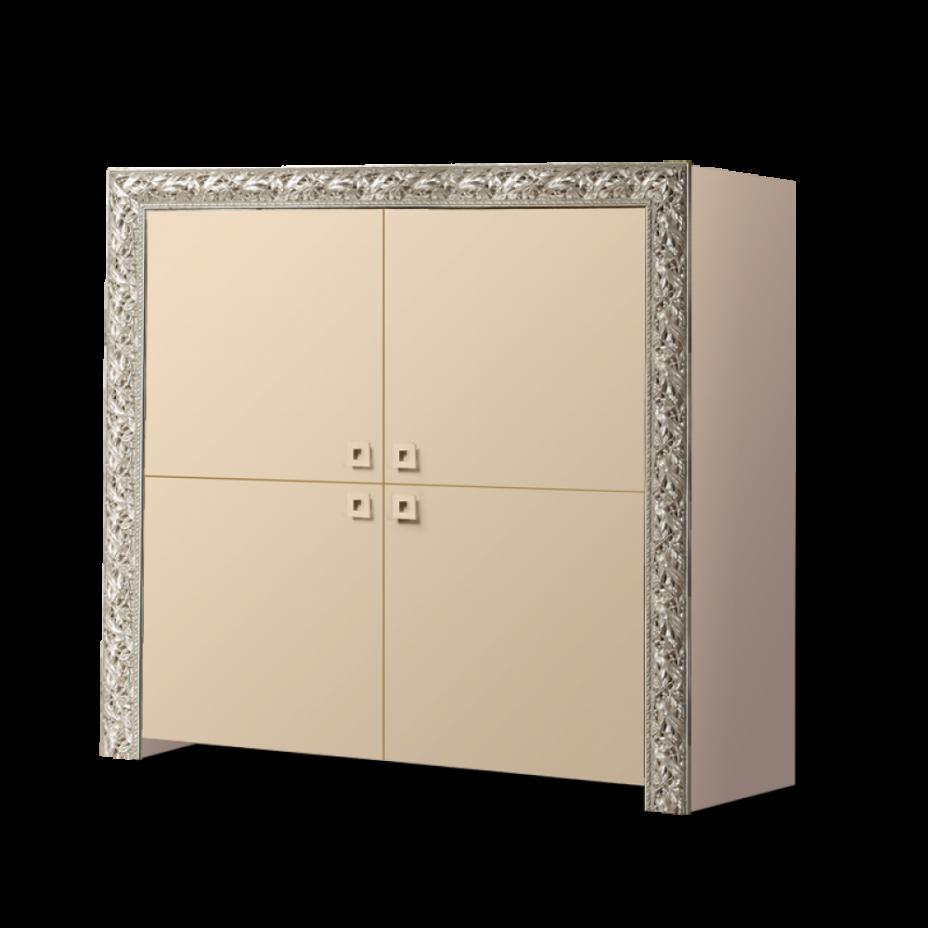 Пенал 4-дверный Тиффани Премиум (Капучино/серебро)