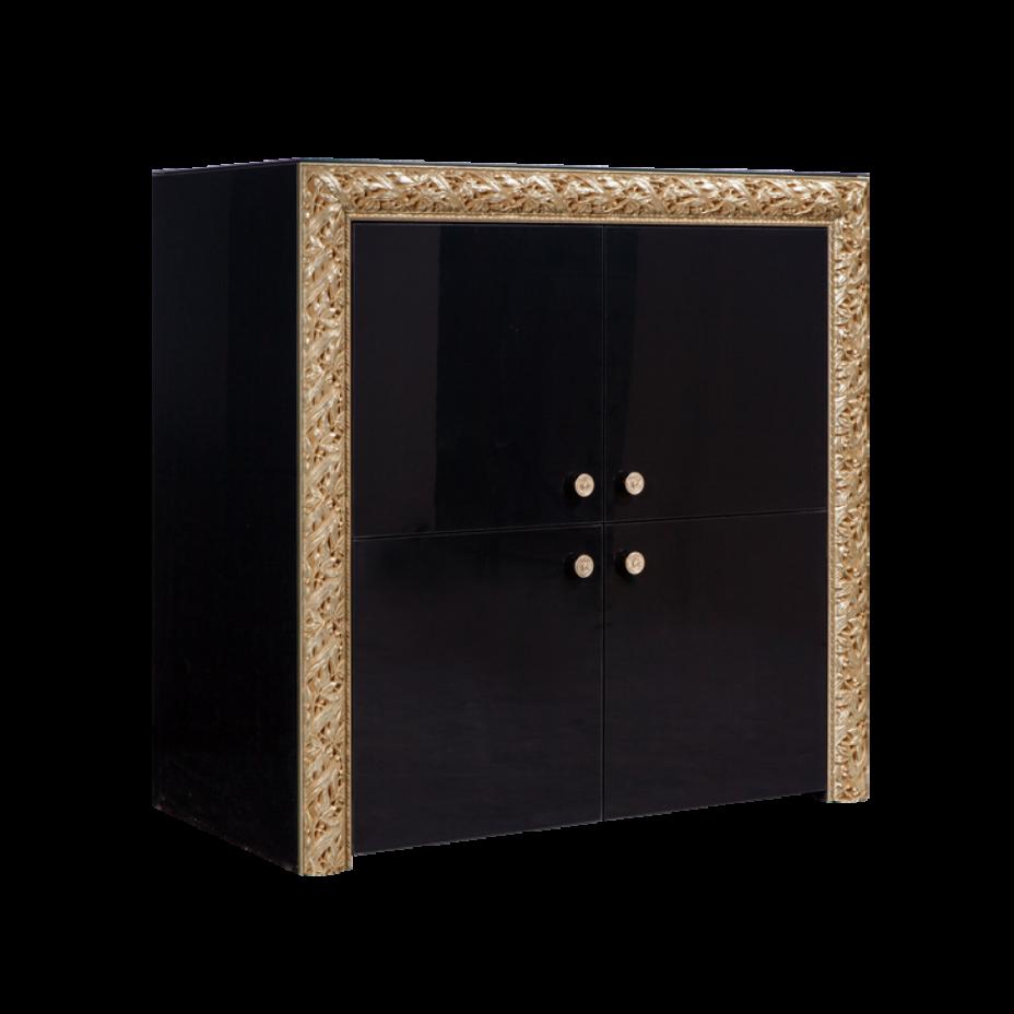 Пенал 4-дверный Тиффани Премиум (Черный/золото)