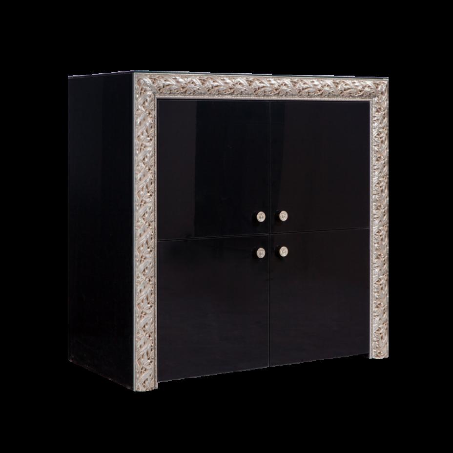 Пенал 4-дверный Тиффани Премиум (Черный/серебро)