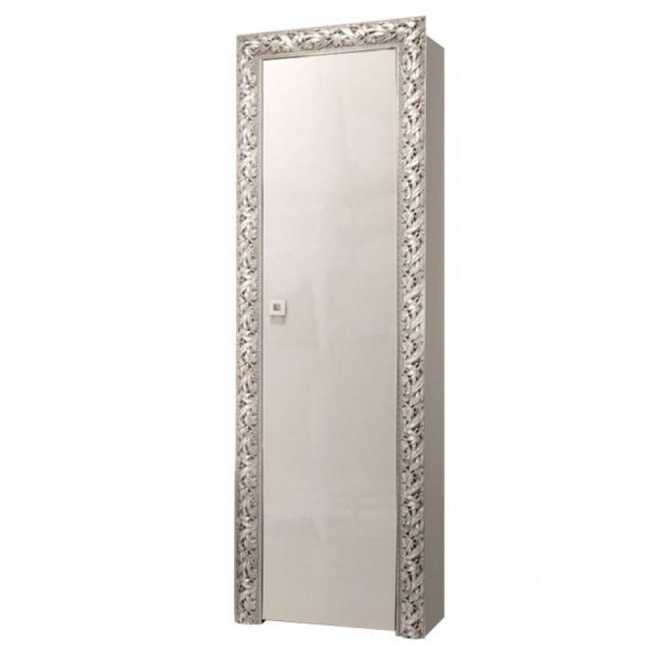 Пенал 1-дверный (правый) Тиффани Премиум (Слоновая кость/серебро)