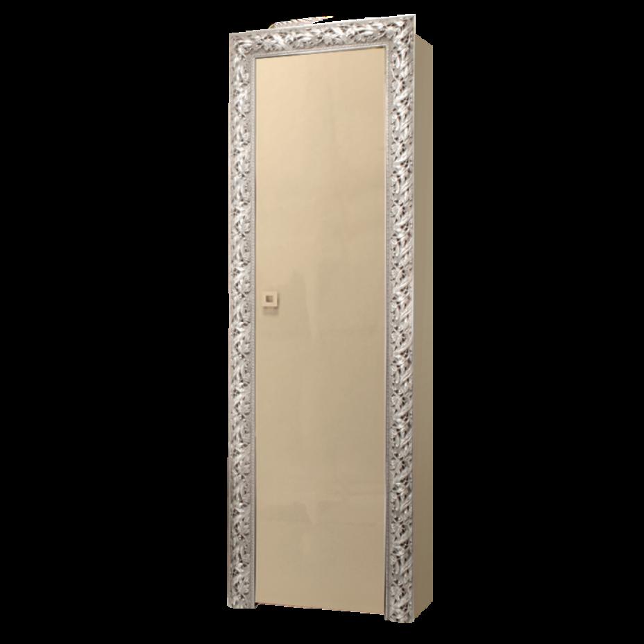 Пенал 1-дверный (правый) Тиффани Премиум (Капучино/серебро)